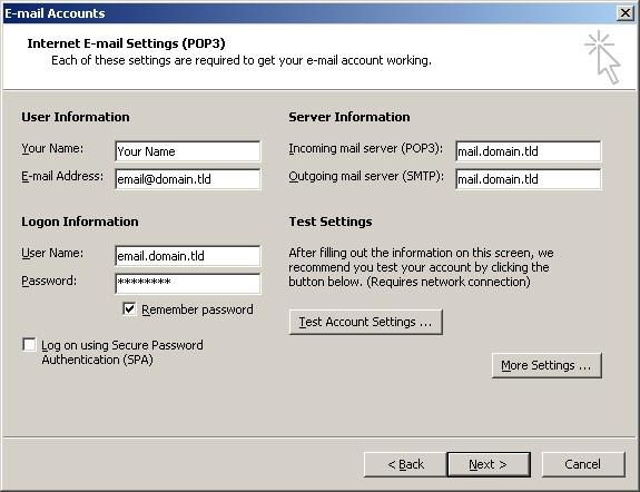 Check Existing Account Settings - Microsoft Outlook 2002/2003