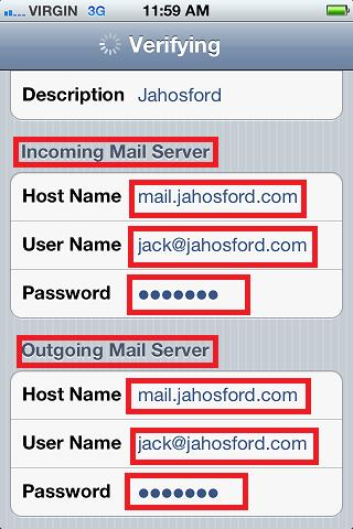 Iphone Email Set-up