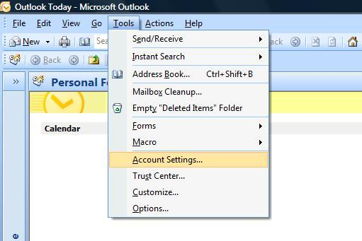 Setup A New Account - Microsoft Outlook 2007