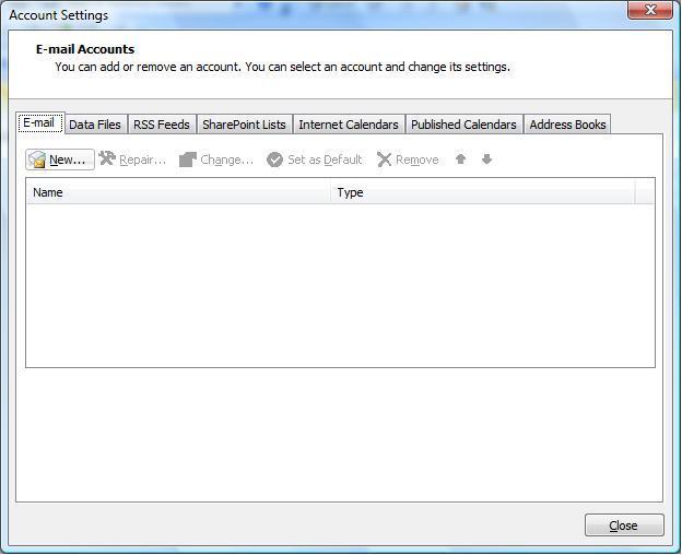 Setup A New Account Microsoft Outlook 2007