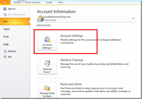 Setup A New Account - Microsoft Outlook 2010