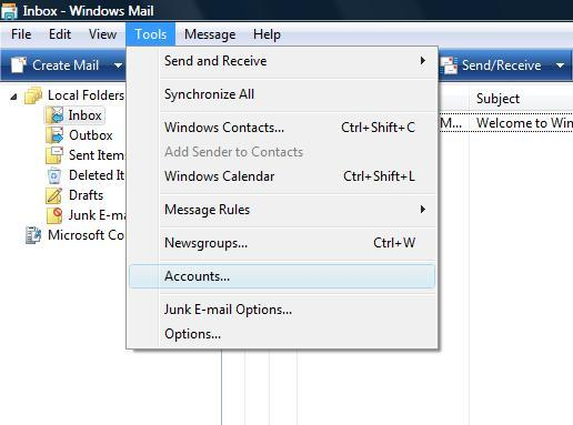 how to setup email on windows live mail
