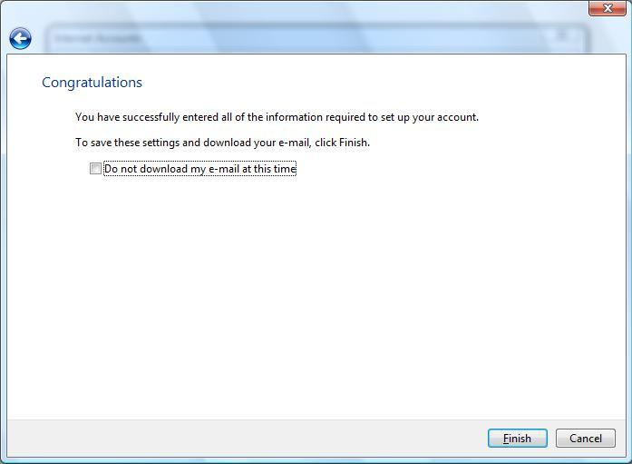 Setup A New Account - Microsoft Windows Mail 6 0