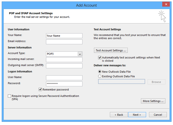 how to change primary account in outlook 2013